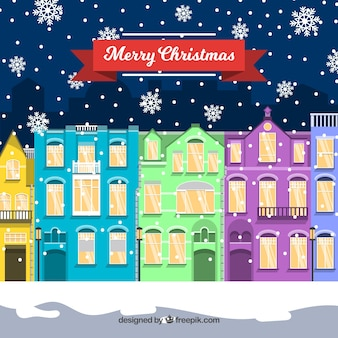 Christmas town with colourful buildings