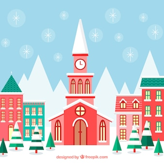 Christmas town with red and green buildings