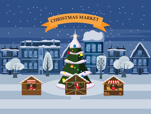 Christmas town with souvenirs market stalls with decorations souvenirs