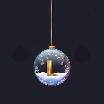 디자인을 위한 새해 나무 장식 요소 안에 황금 3d 문자 l이 있는 크리스마스 장난감 공