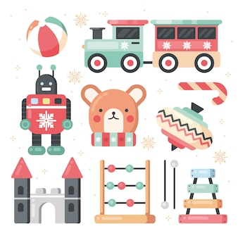 Christmas toy collection in flat design