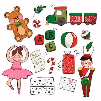 평면 디자인의 크리스마스 장난감 컬렉션