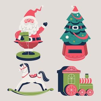 フラットなデザインのクリスマスのおもちゃコレクション