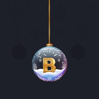 새해 나무 장식 안에 황금 3d 문자 b가 있는 크리스마스 장난감 유리 공
