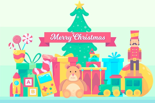 Christmas toys background in flat design