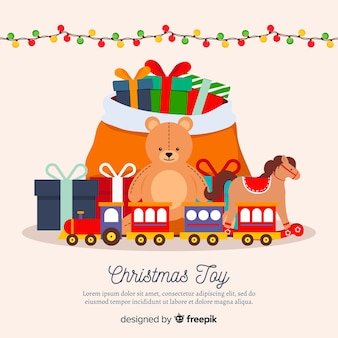 Christmas toys colorful background