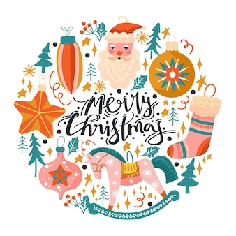 Christmas toys firtree leaves star and lettering happy new year composition