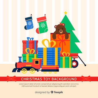 Christmas toys flat background