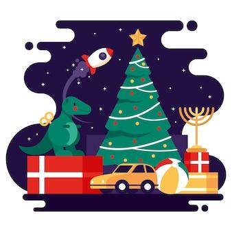 Christmas toys flat background