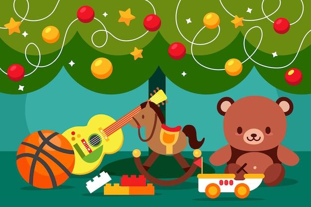 Christmas toys flat design background