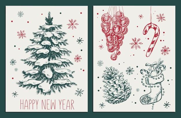 Рождественские игрушки furtree рисованной иллюстрации