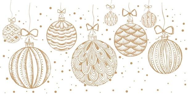 Рождественские игрушки поздравительная открытка рисованной иллюстрации