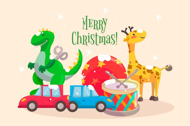 Christmas toys hand-drawn background