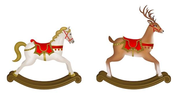 Рождественские игрушки. изолированная лошадка-качалка и качающийся северный олень