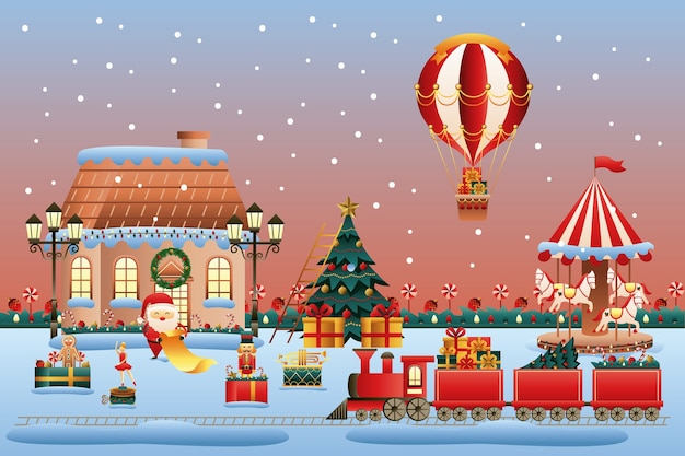 Christmas toys land scene vector illustration design