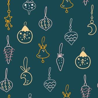 크리스마스 장난감 완벽 한 패턴입니다. 휴일 장식 배경입니다. 벽지, 의류, 포장 초대장, 포스터를 위한 창의적인 스칸디나비아 배경. 벡터 만화 그림입니다.