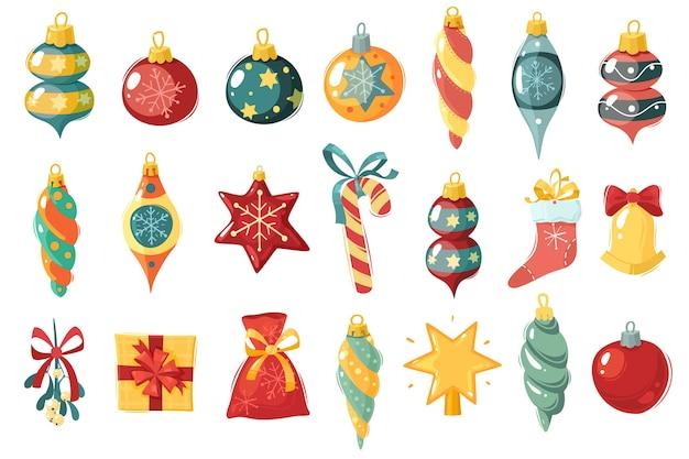 Набор рождественских игрушек. елочные игрушки и шары. украшения различной формы.