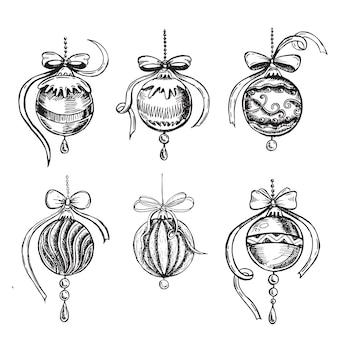 Рождественские игрушки набор рисованной иллюстрации