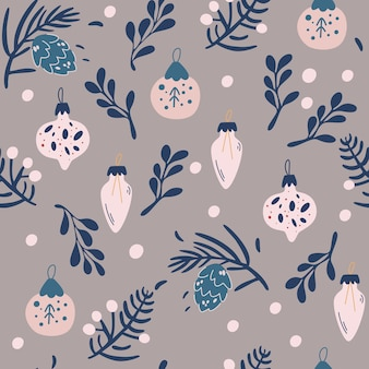 Christmas toys and twigs seamless pattern. happy new year background with fir cone, holly leaves and berries. cute vector hand draw illustration for fabric, wrapping paper, postcard design.