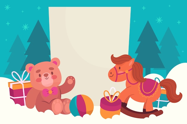 Christmas toys with blank banner