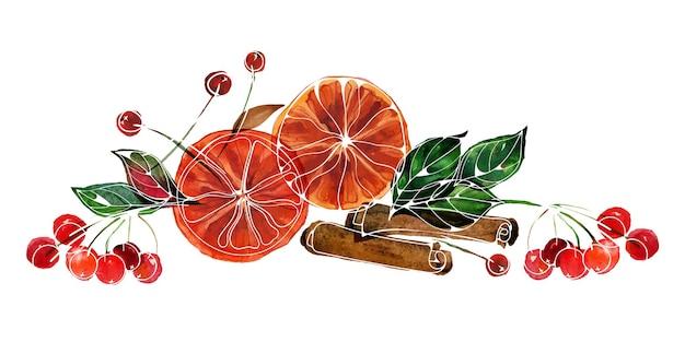 白のオレンジシナモンレッドベリーの枝とクリスマスのトレース水彩画の構成