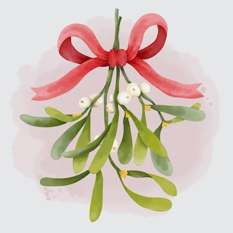 Christmas traditional watercolor hanging mistletoe bouquet with red bow