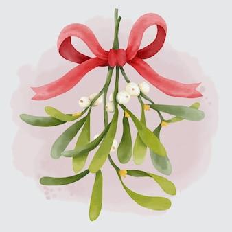 赤い弓とクリスマスの伝統的な水彩画の吊りヤドリギの花束