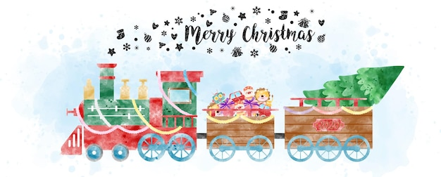 A christmas train with load pine tree and christmas gifts in watercolors style on light blue watercolor and white background.