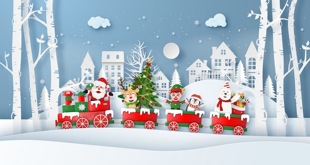 Christmas train with santa claus and friend in the village