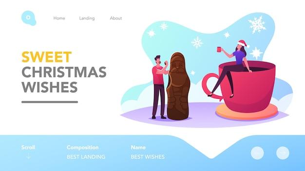크리스마스 간식 및 음료 방문 페이지 템플릿입니다. 거대한 초콜릿 산타를 먹고 코코아를 마시는 작은 남성과 여성 캐릭터. 달콤한 디저트, 휴일을 즐기는 사람들. 만화 벡터 일러스트 레이 션