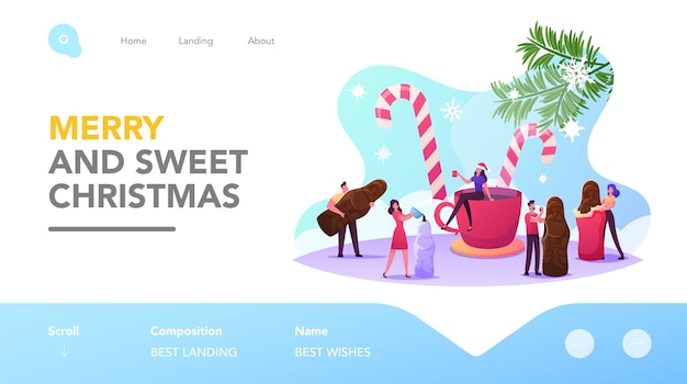 크리스마스 치료 방문 페이지 템플릿입니다. 거대한 컵과 사탕 지팡이 주위의 작은 남성과 여성 캐릭터는 크리스마스 축하 초콜릿 산타 디저트를 만들고 먹습니다. 만화 사람들 벡터 일러스트 레이 션