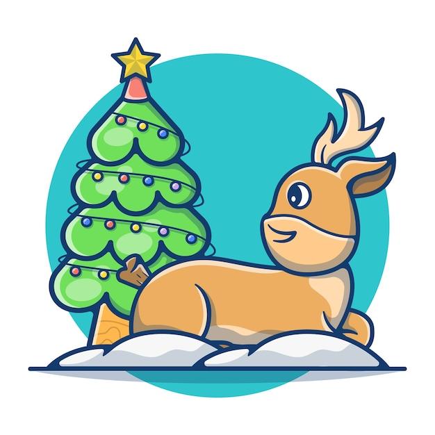 クリスマスツリーとスノーフレークとかわいい鹿