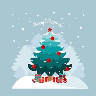 クリスマスツリーと装飾的なお祭りのオブジェクト