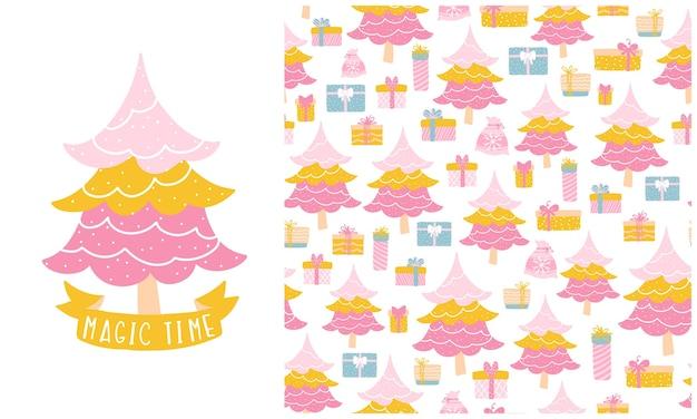 クリスマスツリーとギフトボックス。シームレスなパターンとイラストのセット。