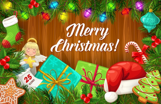 나무 배경, 겨울 휴가 디자인에 크리스마스 트리와 선물 프레임. 선물, 산타 모자, 사탕 및 진저 브레드, 공, 조명 및 달력이있는 소나무와 홀리 가지의 크리스마스 화환