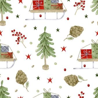 Рождественская елка и подарки на санях бесшовный фон акварель