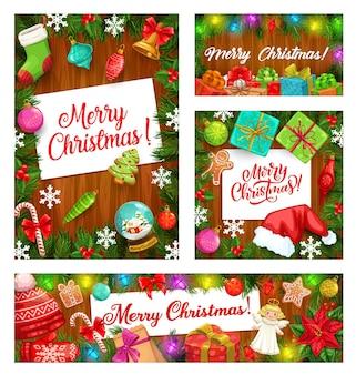 Елка и подарки, рамки для зимних праздников