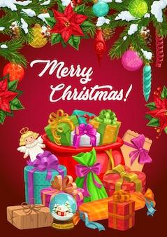 バッグにクリスマスツリーとサンタの贈り物、冬の休日