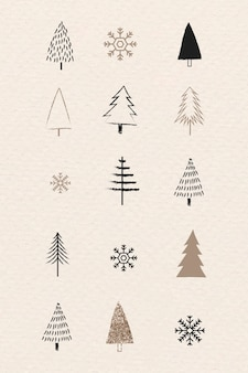 낙서 스타일의 크리스마스 트리와 눈송이 컬렉션