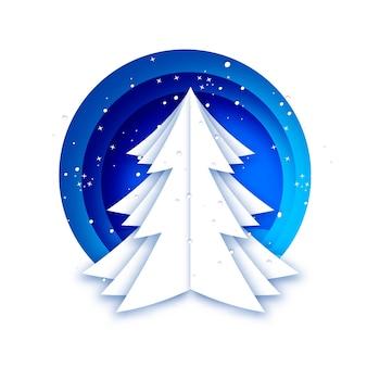 クリスマスツリーと雪片冬休み明けましておめでとうございます青い背景