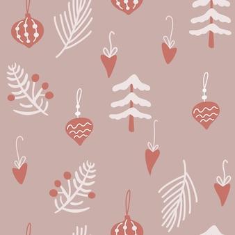 クリスマスツリーとおもちゃのシームレスなパターン。ヒイラギの葉、ベリー、小枝と新年あけましておめでとうございます。冬の休日はスカンジナビアスタイルの背景をベクトルします。布、包装紙、はがきに。