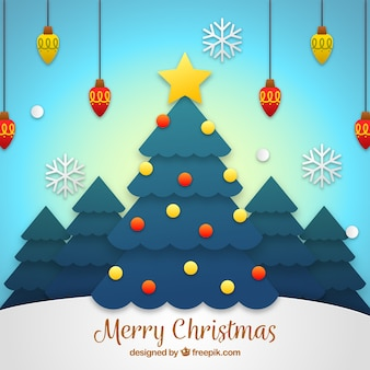 Christmas tree background in flat design