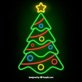 ネオンライトのクリスマスツリーの背景