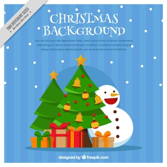 Christmas tree background with gifts and snowmen