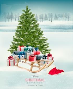 Фон рождественской елки с подарками и санями