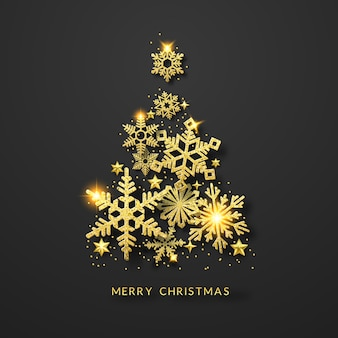 Christmas tree background with shining gold snowflakes, stars and balls