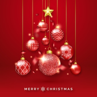 Christmas tree background with shining ribbons, star and colorful balls