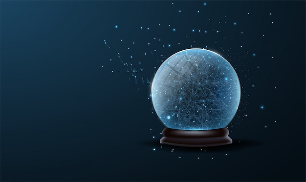 Christmas tree ball decoration low poly. christmas snow globe isolated on blue background.