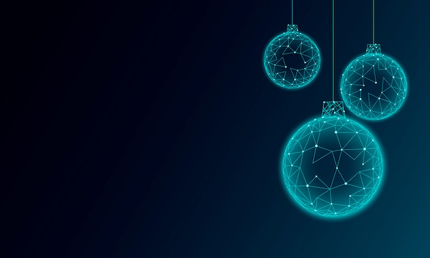 Christmas tree ball decoration low poly. modern futuristic technology art template greeting card. dark blue background. glowing sparkling 3d render sphere happy new year banner vector illustration