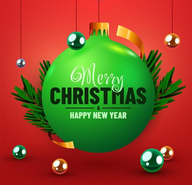 赤い背景のクリスマスツリーボールクリスマスバナー